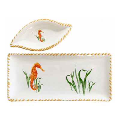 Abbiamo Tutto Seahorse Ceramic Small Tray and Dipping Bowl Set from Italy