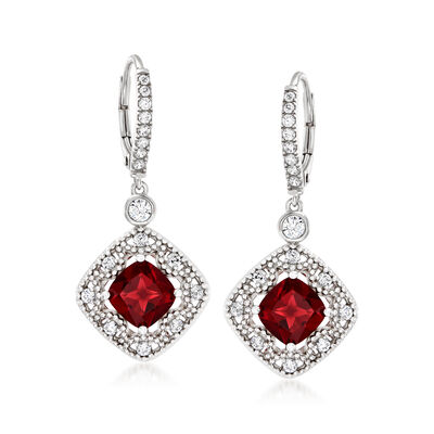 3.20 ct. t.w. Simulated Ruby and .70 ct. t.w. CZ Drop Earrings in Sterling Silver