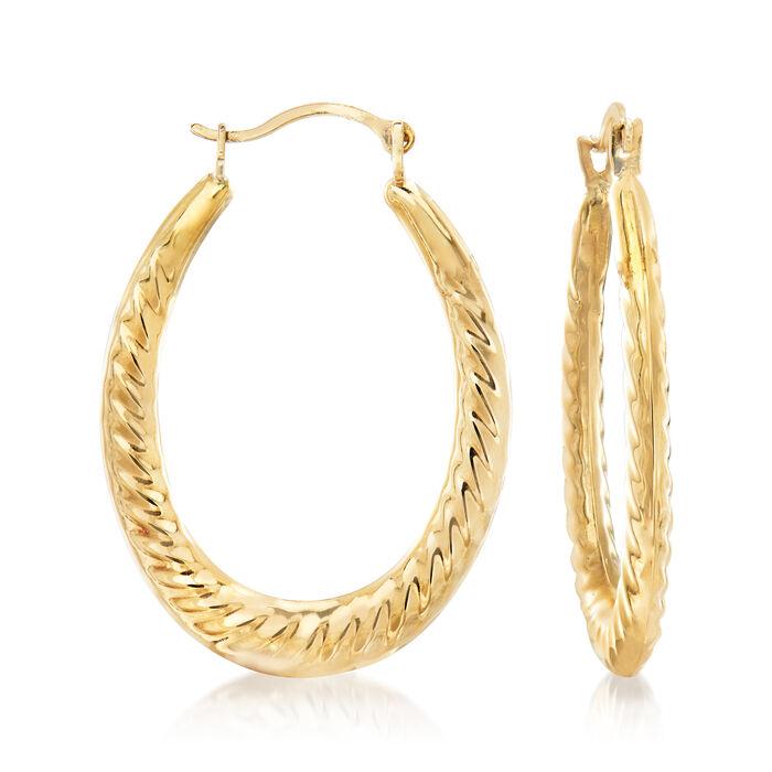 "14kt Yellow Gold Twisted Oval Hoop Earrings. 1"""