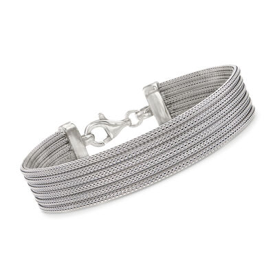 Italian Sterling Silver Multi-Strand Mesh Bracelet, , default