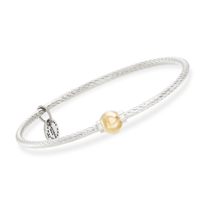 Cape Cod Jewelry Sterling Silver and 14kt Yellow Gold Twisted Single Bead Bangle Bracelet, , default