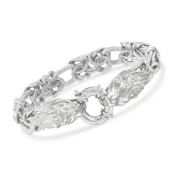 Italian Sterling Silver Double Lion Head Link Bracelet, , default