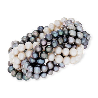 6-7mm Multicolored Cultured Pearl Braided Stretch Bracelet, , default