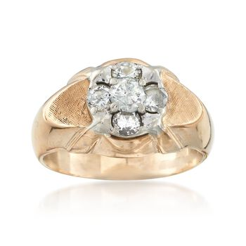 C. 1970 Vintage 1.00 ct. t.w. Diamond Cluster Ring in 14kt Yellow Gold. Size 9, , default
