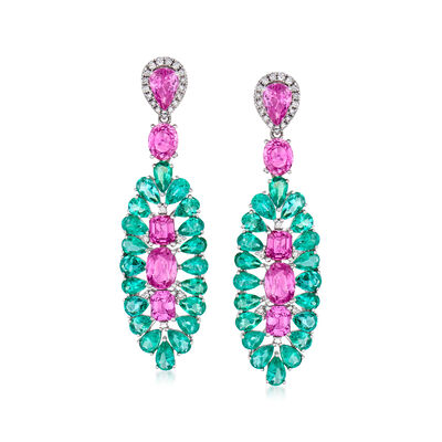 9.80 ct. t.w. Pink Sapphire and 8.75 ct. t.w. Emerald Drop Earrings with .50 ct. t.w. Diamond in 18kt White Gold