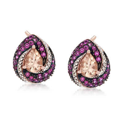2.00 ct. t.w. Morganite and 1.00 ct. t.w. Rhodolite Garnet Earrings with White Zircons in 18kt Rose Gold Over Sterling, , default