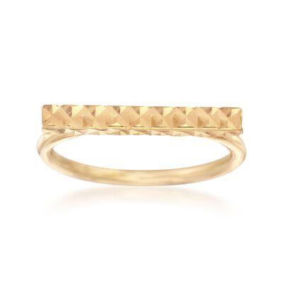 Italian 18kt Gold Over Sterling Silver Faceted Bar Ring, , default