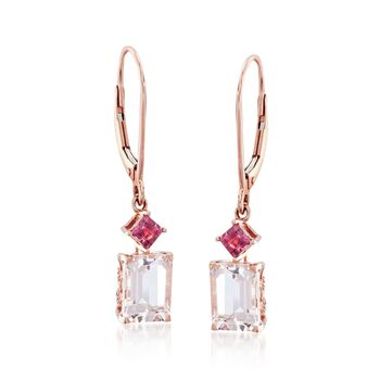 3.30 ct. t.w. Morganite and .30 ct. t.w. Pink Tourmaline Drop Earrings in 14kt Rose Gold , , default