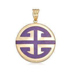 "Lavender Jadeite Jade ""Longevity"" Chinese Symbol Circle Pendant in 14kt Gold, , default"