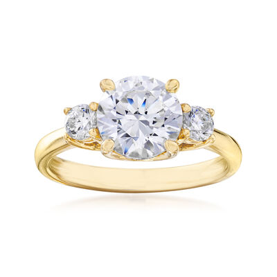2.20 ct. t.w. CZ Three-Stone Ring in 18kt Gold Over Sterling