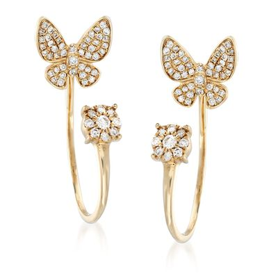 .45 ct. t.w. Diamond Butterfly Posts With J-Hoop Earring Jackets in 14kt Yellow Gold, , default