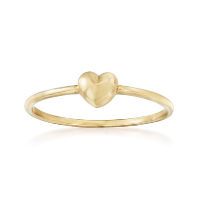 18kt Yellow Gold Puffed Heart Ring, , default