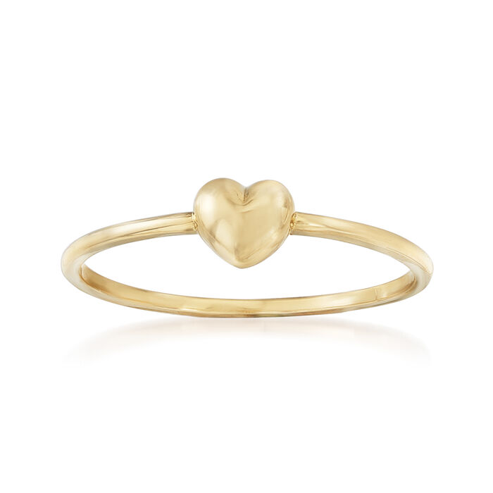 18kt Yellow Gold Puffed Heart Ring, , default