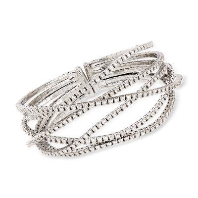 C. 2005 Vintage 7.65 ct. t.w. Diamond Criss-Cross Bracelet in 18kt White Gold, , default