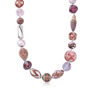 Italian Pink and Purple Murano Glass Bead Necklace with Sterling Silver, , default
