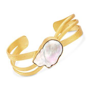 """Bezel-Set Cultured Baroque Pearl Cuff Bracelet in 18kt Gold Over Sterling. 8"""", , default"""