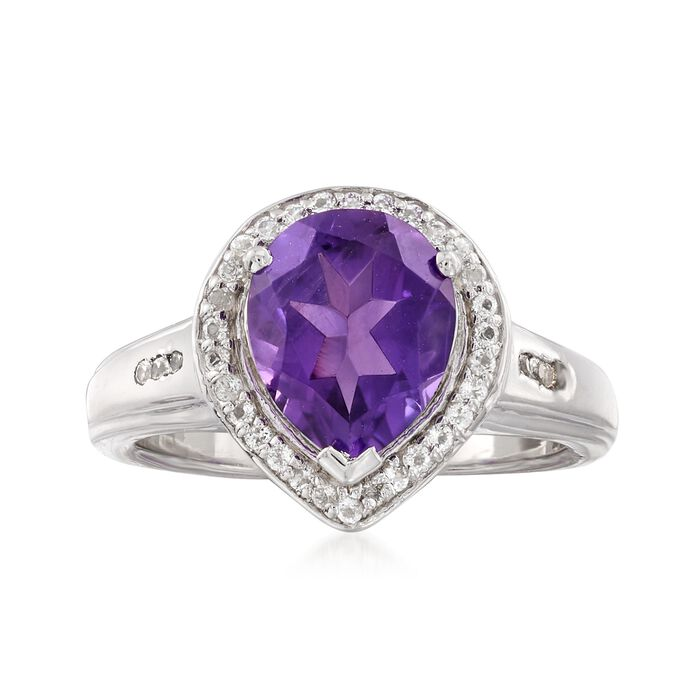 1.30 Carat Amethyst and .30 ct. t.w. White Topaz Ring in Sterling Silver