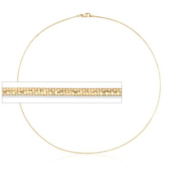 Italian 1.2mm 18kt Yellow Gold Over Sterling Silver Diamond-Cut Omega Necklace, , default