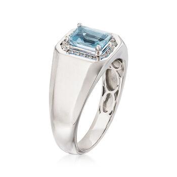 Men's 1.10 Carat Aquamarine and .22 ct. t.w. Diamond Ring in 14kt White Gold, , default