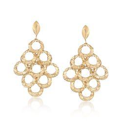Italian 18kt Yellow Gold Multi-Circle Drop Earrings, , default