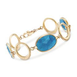 "16.00 ct. t.w. Blue Quartz and Open Circle Link Bracelet in 14kt Yellow Gold. 7"", , default"