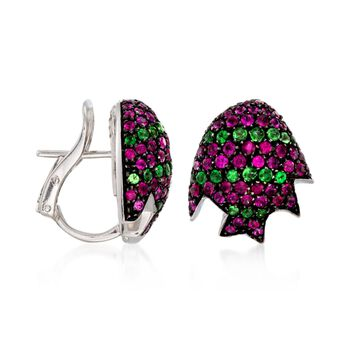 "C. 2000 Vintage 2.75 ct. t.w. Ruby and 1.00 ct. t.w. Tsavorite Earrings in 18kt White Gold. 1/2"", , default"