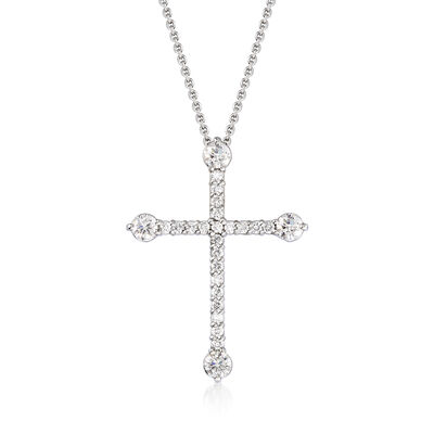 Roberto Coin .47 ct. t.w. Diamond Cross Pendant Necklace in 18kt White Gold, , default