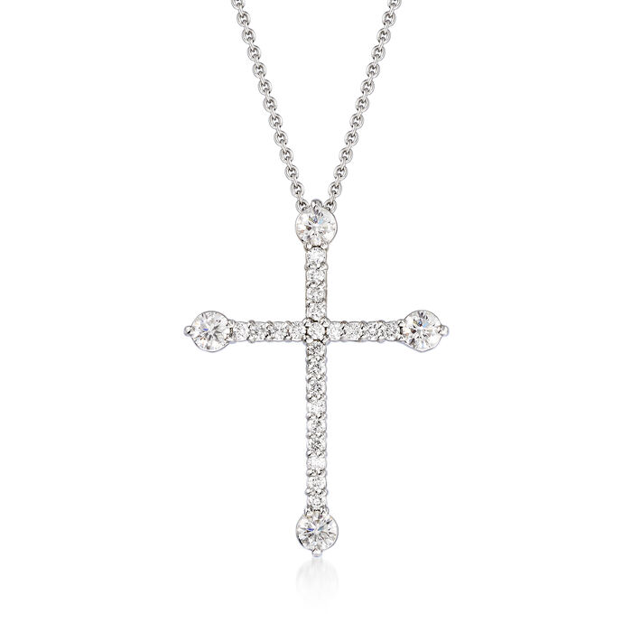 """Roberto Coin .47 ct. t.w. Diamond Cross Pendant Necklace in 18kt White Gold. 16"""", , default"""