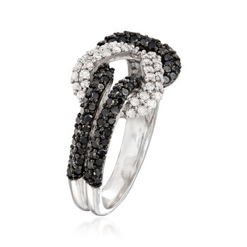 .89 ct. t.w. Black and White Diamond Love Knot Ring in Sterling Silver