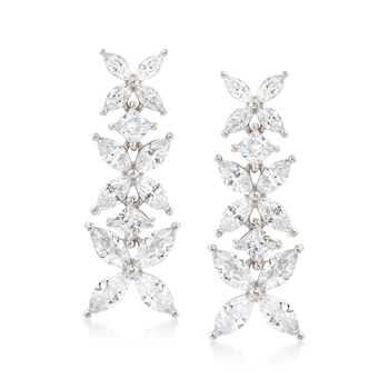 4.80 ct. t.w. CZ Floral Earrings in Sterling Silver, , default