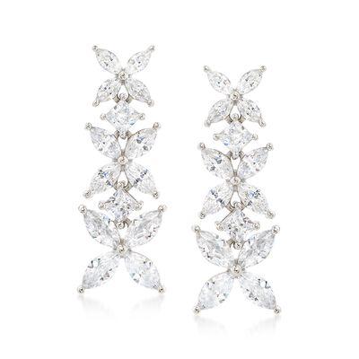 4.80 ct. t.w. CZ Floral Earrings in Sterling Silver, , default