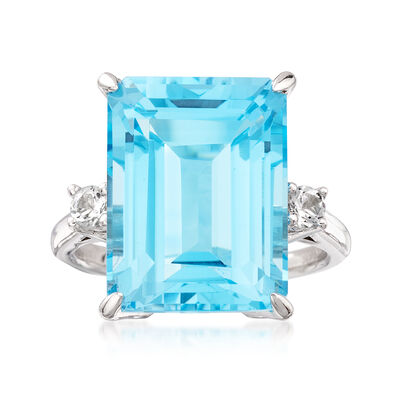 14.00 Carat Blue Topaz and .10 ct. t.w. White Topaz Ring in Sterling Silver, , default