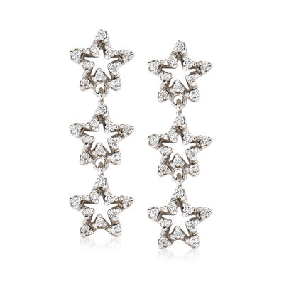 C. 1990 Vintage .36 ct. t.w. Diamond Star Drop Earrings in 18kt White Gold