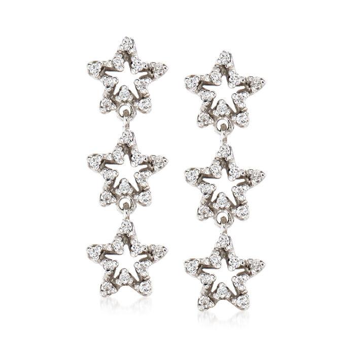 C. 1990 Vintage .36 ct. t.w. Diamond Star Drop Earrings in 18kt White Gold