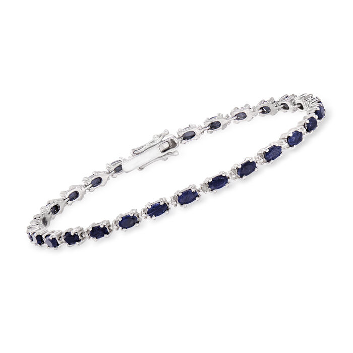 6.50 ct. t.w. Sapphire Bracelet with Diamond Accents in Sterling Silver