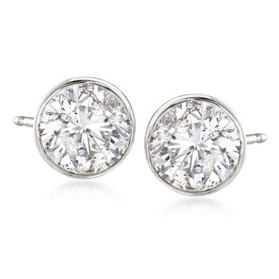 2.00 ct. t.w. Bezel-Set Diamond Stud Earrings in 14kt White Gold, , default
