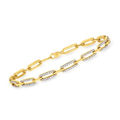1.00 ct. t.w. Diamond Paper Clip Link Bracelet in 18kt Gold Over Sterling