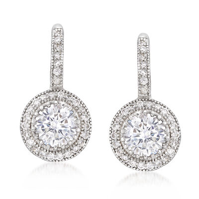 1.90 ct. t.w. CZ Round Drop Earring in Sterling Silver , , default