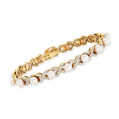 C. 1990 Vintage 5mm Cultured Pearl and 1.05 ct. t.w. Diamond X Bracelet in 18kt Yellow Gold, , default