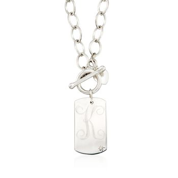 "Sterling Silver Single Initial Dog Tag Toggle Necklace With Diamond Accent. 18"", , default"
