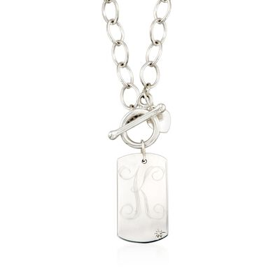 Sterling Silver Single Initial Dog Tag Toggle Necklace with Diamond Accent, , default