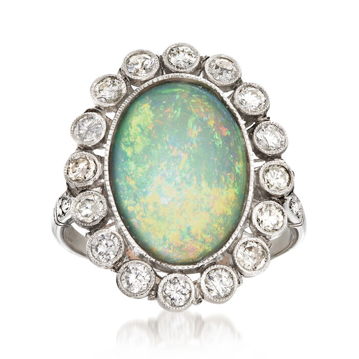 C. 1950 Vintage Opal and .75 ct. t.w. Diamond Ring in Platinum. Size 5.5