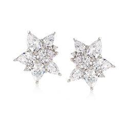 8.05 ct. t.w. CZ Floral Stud Earrings in Sterling Silver, , default