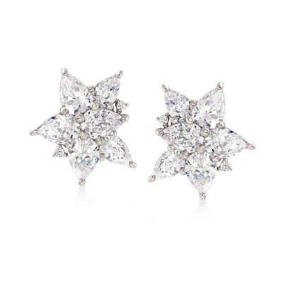 8.05 ct. t.w. CZ Floral Stud Earrings in Sterling Silver, , default