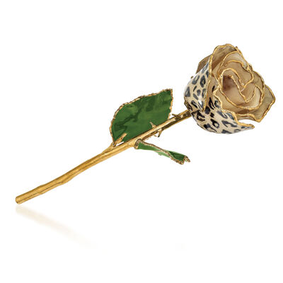 Lacquer-Dipped Gold-Plated Cream and Black Leopard Rose, , default