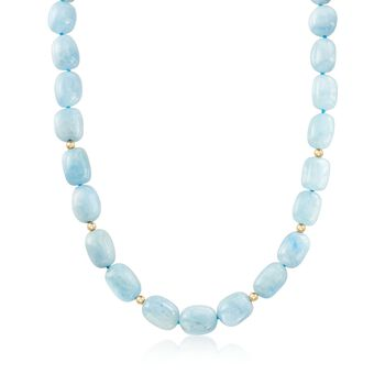 """Aquamarine Bead Necklace With 14kt Yellow Gold. 18"""", , default"""