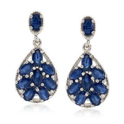 4.50 ct. t.w. Sapphire Drop Earrings in Sterling Silver, , default