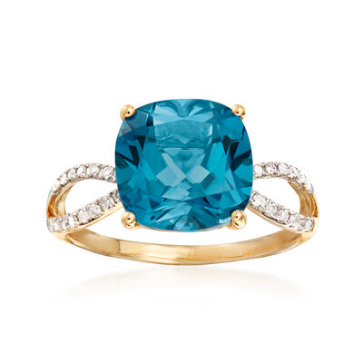 4.90 Carat London Blue Topaz and .11 ct. t.w. Diamond Ring in 14kt Yellow Gold