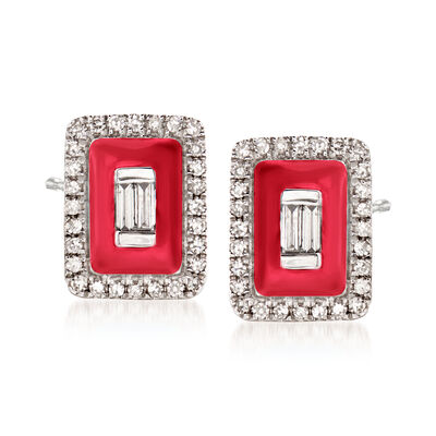 .20 ct. t.w. Diamond Earrings with Red Enamel in 18kt White Gold, , default