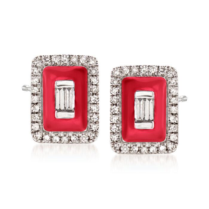 .20 ct. t.w. Diamond Earrings with Red Enamel in 18kt White Gold